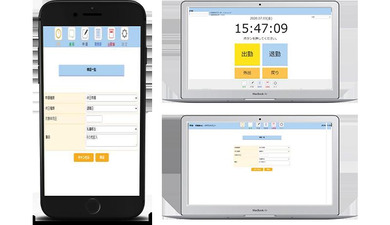 画面キャプチャ:勤怠管理システム+通勤管理システム